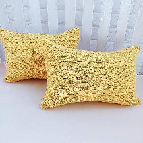 Tuscany Yellow Woolen Rectangular Cushion