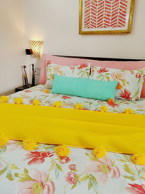 Yellow Double tassel layer throw for L-Shaped Couch
