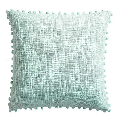 Mint Textured Cushion with pom pom