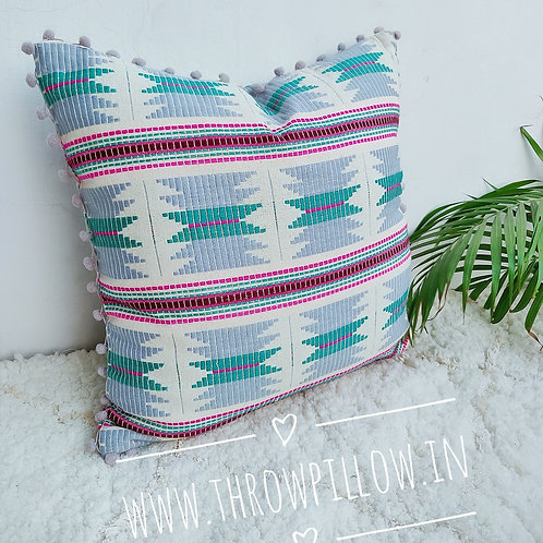 Multicolored Thread Work Throwpillow