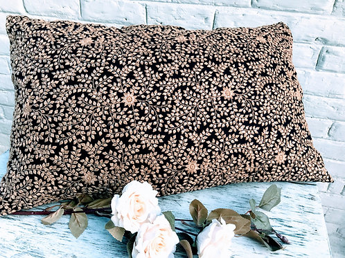Floral embroidered lumbar cushion