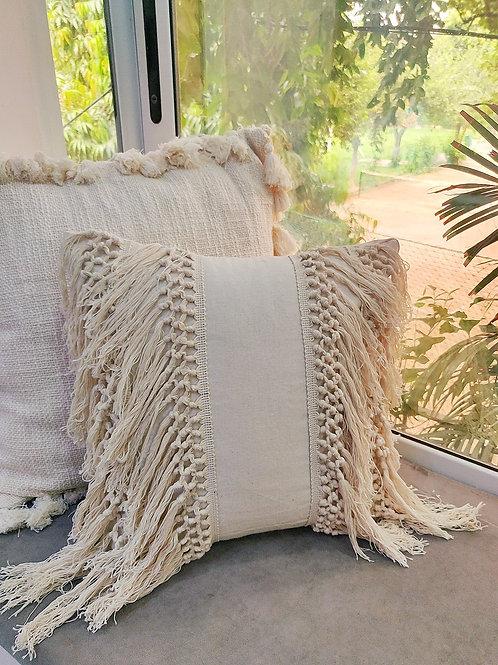 Neutral Boho Fringe Cushion Cover