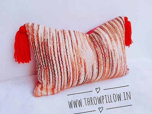 Textured Rectangular Cushion with orange tassels