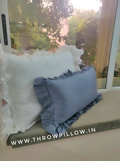 Grey Ruffle Lumbar Cushion