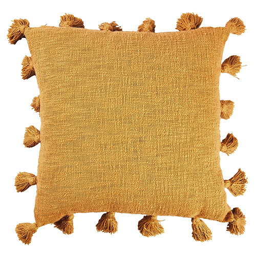 Mustard All Round Tassels Cotton Cushion Cover