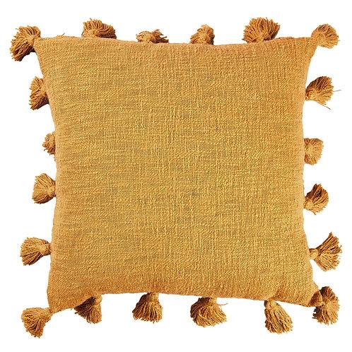 Mustard All Round Tassels Cotton Cushion