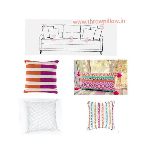 Colour Me Cushion Set- 5 Cushions -3 Seater