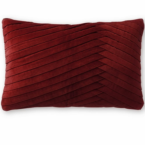 Luxe Deep Red Pleated Cushion Cover