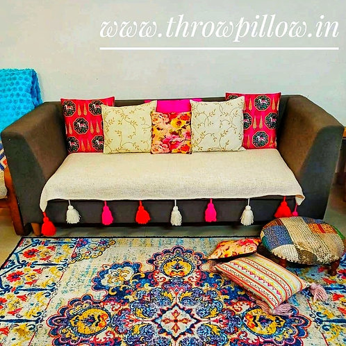 Neutral Textured Cotton couch cover with multi colour tassels