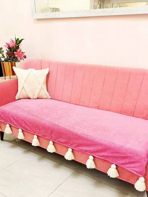 Pink Throw With Off-White Tassels