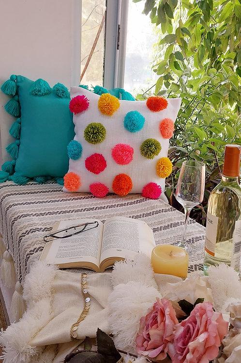 Big Pom Pom Multicolored Boho Cushion Cover