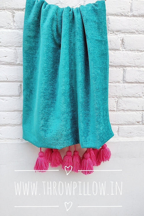 Teal Textured Couch Cover/ Throw with Pink Tassels