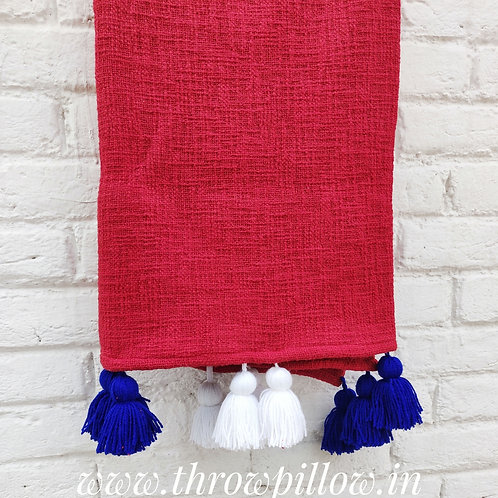 Red Textured Tassel L-Shaped Couch Cover