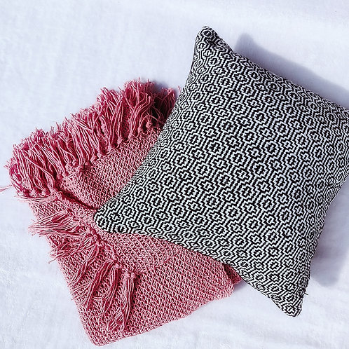 Black white threadwork pattern pillow