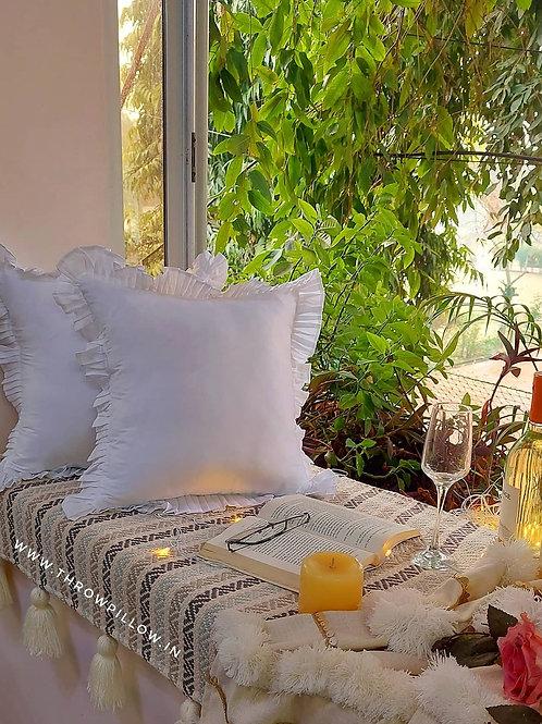 Bohochiq Frill Cushion Cover- White