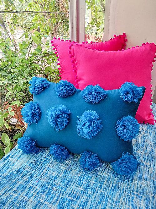 Teal Pom Pom Embellished Cushion Cover