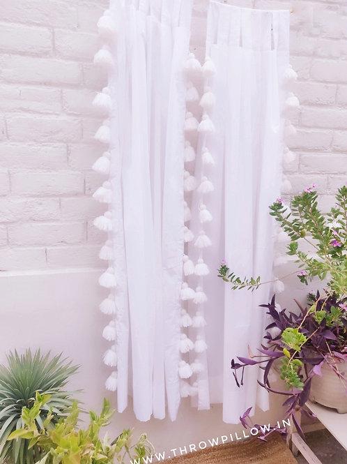 White Sheer Tassel Curtains