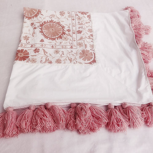 Embroidered Table Cover with Tassels