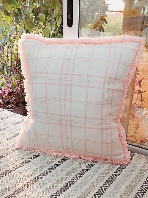 Corfu Blush Check  Cushion Cover