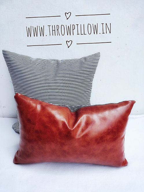 Faux Leather Rectangular Cushion Cover