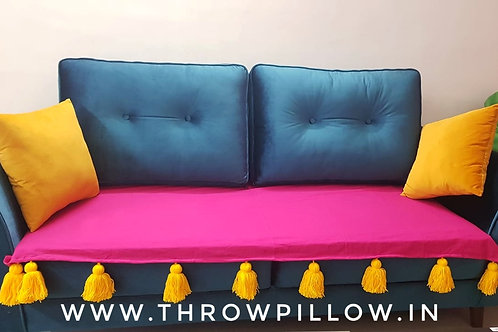Fuschia Throw/Couch Cover With Yellow Tassels