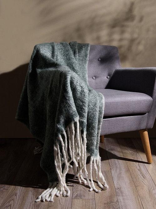 Grey Harringbone Mohair Throw