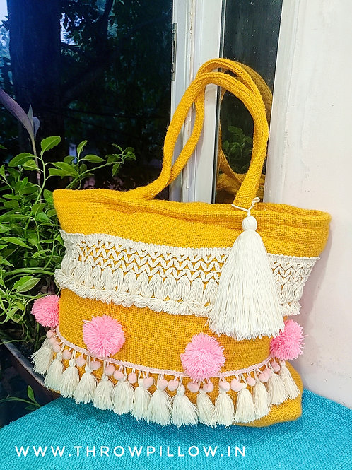 Mustard Blush Boho Tote Bag