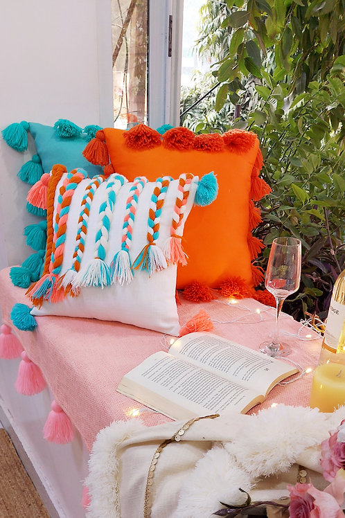 Perry Coral Braided Cushion Cover