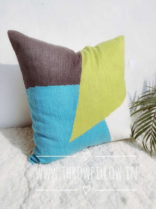 Crewel Embroidered Colour Block 20 inches Cushion Cover