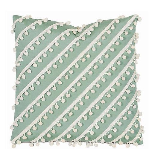Light Green Manhattan Pom Pom Cushion Cover