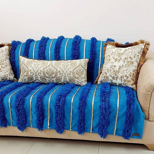 Moroccan Wedding Blanket Throw- Teal Blue