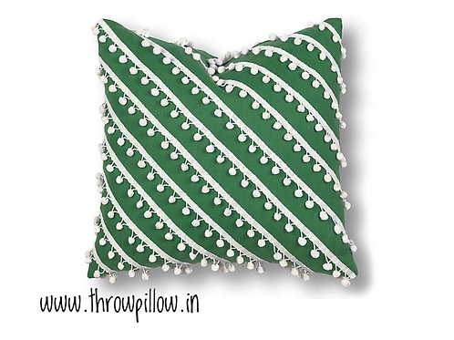 Green Manhattan Pom Pom Cushion Cover