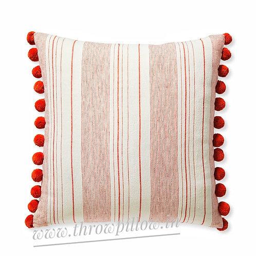 Red Calma Stripes & Pom Pom Cushion Cover