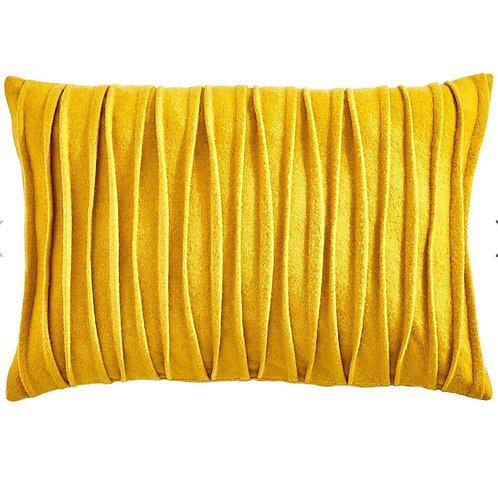 Mustard Pleated Rectangular Cushion
