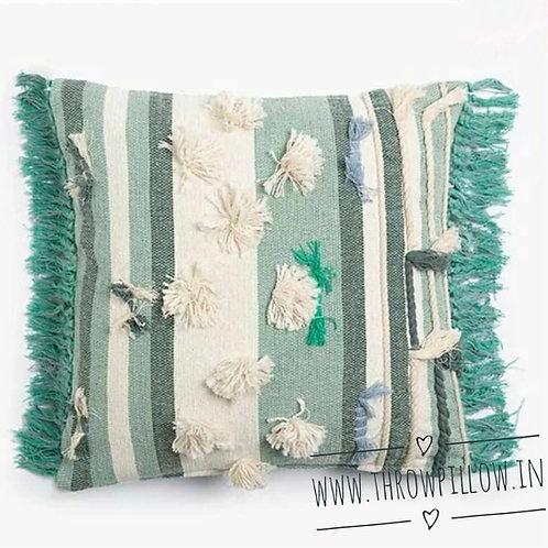 Green Boho Fringed Cushion Cover