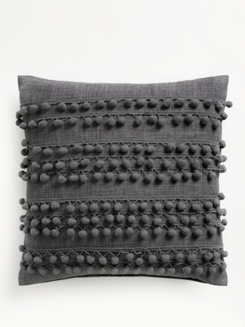 Grey Pom Pom Love Cushion Cover