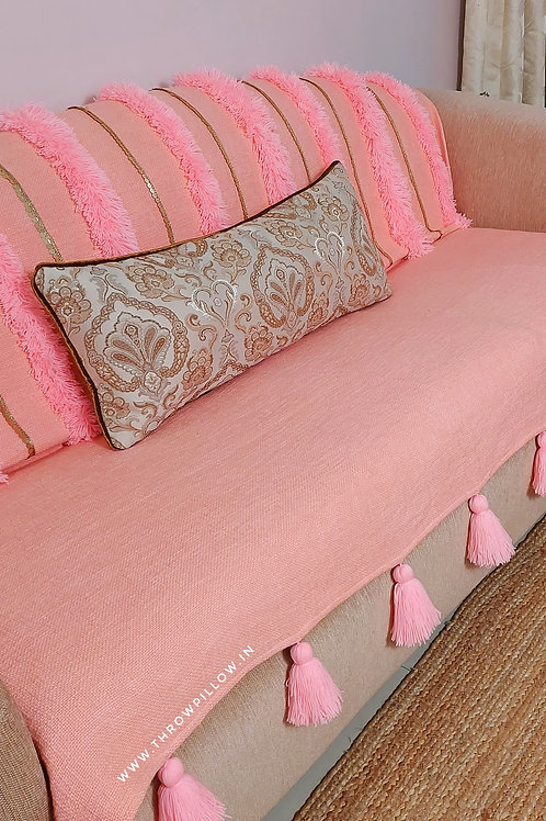 Morroccan Tufted Tassel Couch Cover Set_ Blush