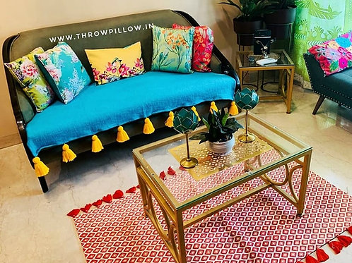 Turquoise Blue L-Shaped Couch Cover with yellow tassels