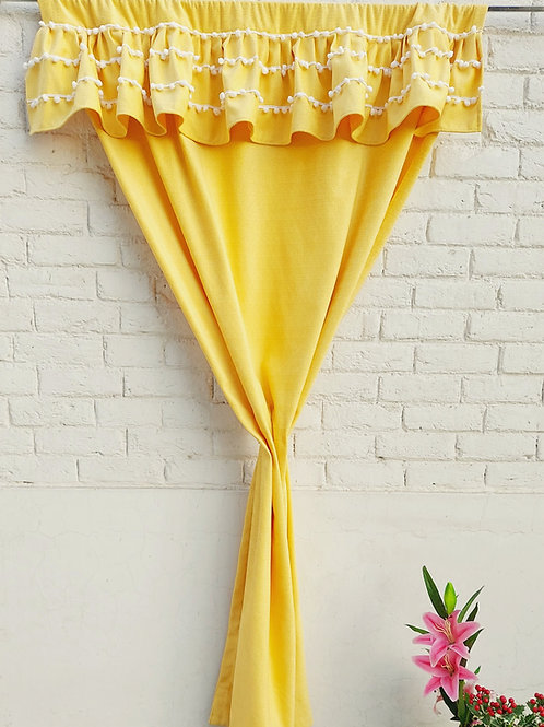 Sunshine Pom-Pom Embellished Frill Curtain