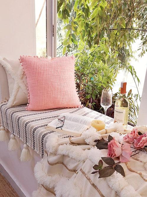 Blush Peach Textured with Pom Pom Trim Cushion Cover