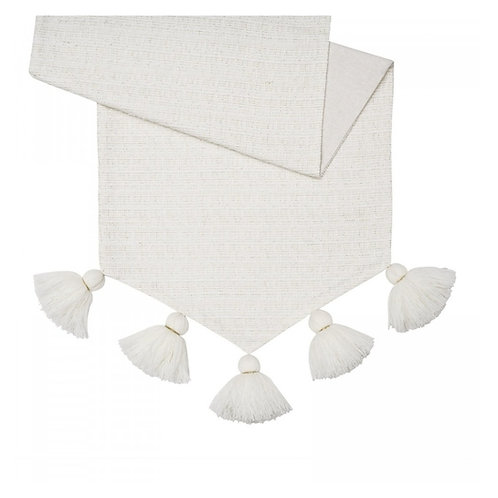 White Table Runner with Fine Thread Tassel