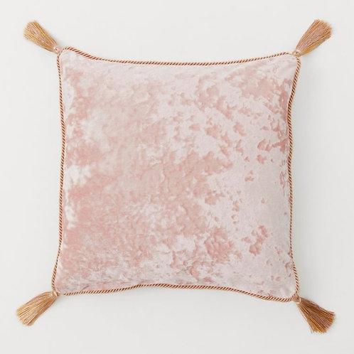 Crush Blush Velvet with Luxe Light GoldTrim Cushion Cover