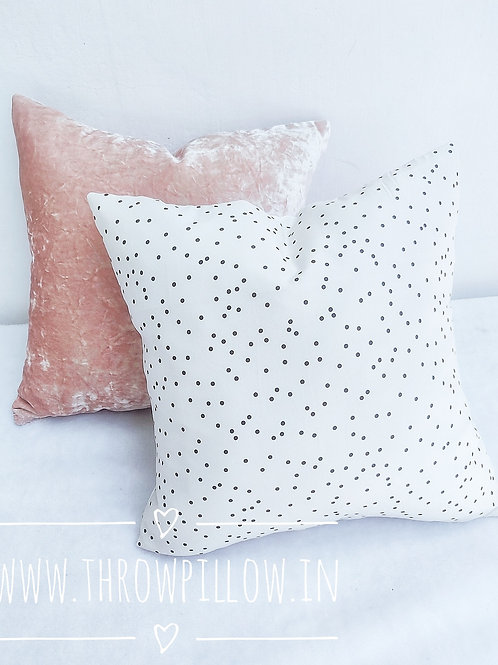 White Polka Cushion- 16x16 inches