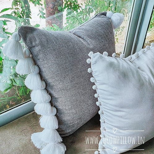 Grey Fine Thread Tassle Pillow