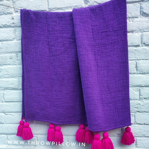 Heart Purple L-Shaped Couch Cover with Fuschia tassels