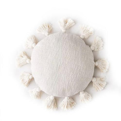 Neutral All Round Tassel Cushion Cover