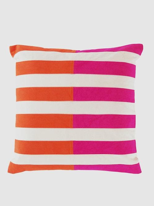 Orange Fuschia Stripes Cushion Cover