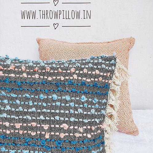 Blush Blue Knit Textured Cushion Cover