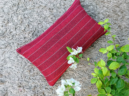 Red Strips Rectangular Cushion Cover