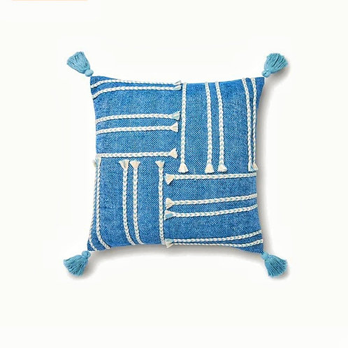 Blue Braided Cushion Cover
